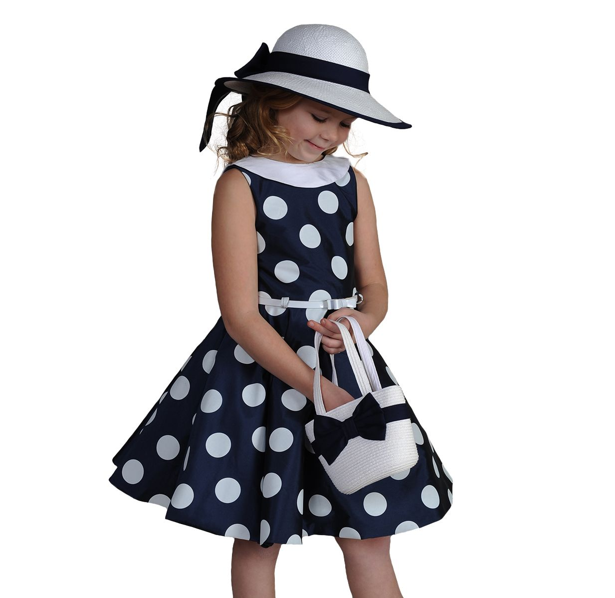 Kids Audrey Vintage Polka Dot 50s Girls Swing Dress for Wedding Pageant Party