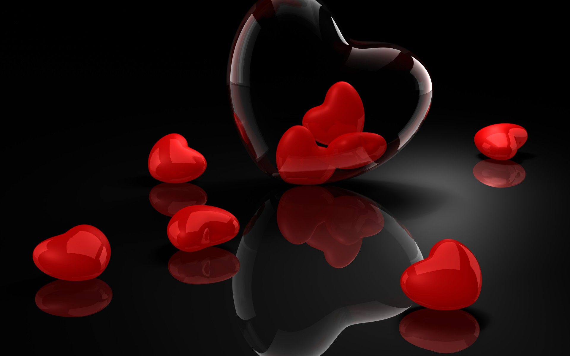 Glass Hearts On A Shiny Floor Misc Stuff Wallpapers Hd