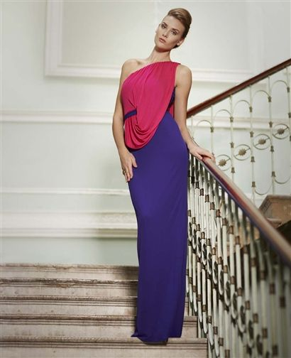 Issa - Bustier drape contarst gown