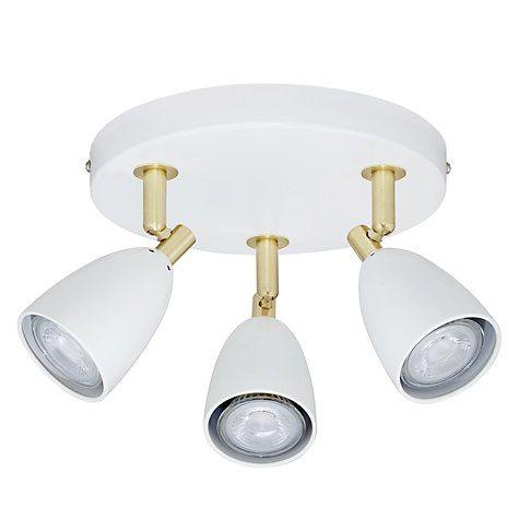 Buy John Lewis Sasha GU10 LED Spotlight Plate, 3 Light, Ivory/Brass Online at johnlewis.com