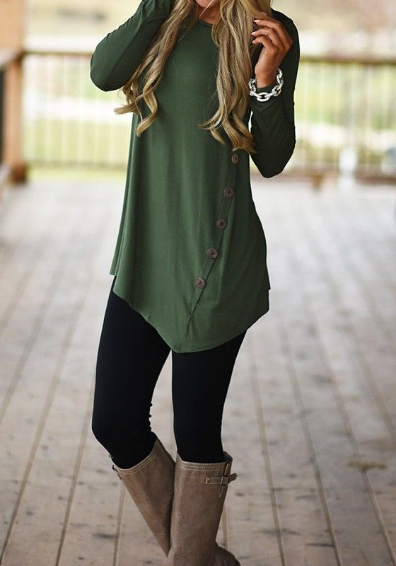 377c3051 Army Green Plain Single Breasted Long Sleeve T-Shirt | CHILLY ...