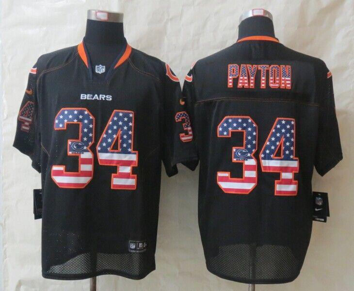 2014 New Nike Chicago Bears 34 Payton USA Flag Fashion Black Elite Jerseys