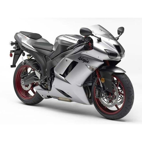 2007 Kawasaki Ninja Zx 6R Silver Static Photo 15 ❤ liked on Polyvore featuring cars, motorcycle, transportation, vehicles and bikes