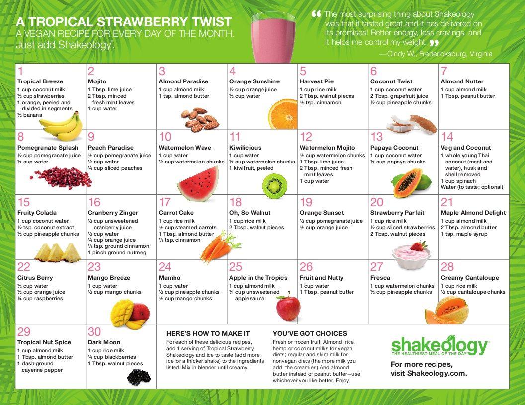 Tropical Strawberry Shakeology Recipe Calendar Dandk