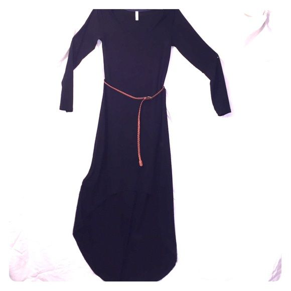 Black belt high low dress for lovers or haters Polyester 62%, rayon 33%, spandex 5%, brown belt is remove able, tight fitting, maxi length in back, never worn Xhilaration Dresses High Low