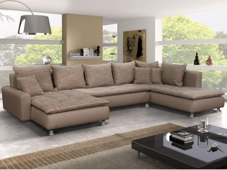 Canape Panoramique En Tissu Et Simili Elegato Bicolore Beige Angle Droit Living Room Sofa Design Living Room Warm Modern Furniture Living Room