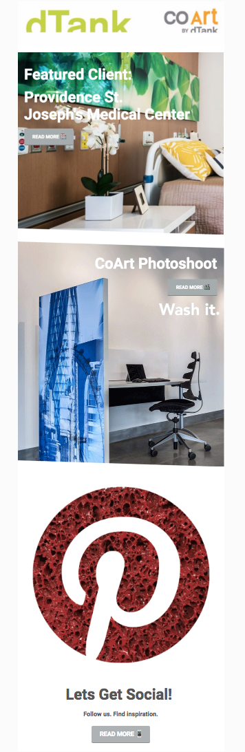 #dTank March Newsletter focuses on Designing for Better Health! Featuring client: Saint Joseph's Medical Center and Behind the Scenes footage from #CoArt's first photoshoot! #HealthCareDesign #HealthCare #InteriorDesign #WorkspaceDesign #Work #OfficeFurniture #Deskgoals #HealingArt #AcousticalArt