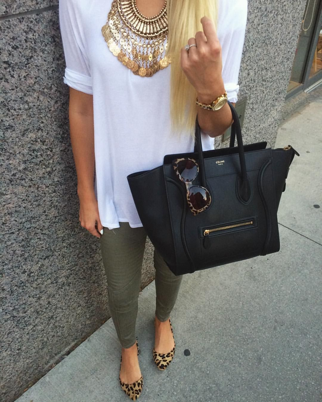 77b0e268 Ootd / Celine / gold coin necklace / leopard flats | My Instagram ...