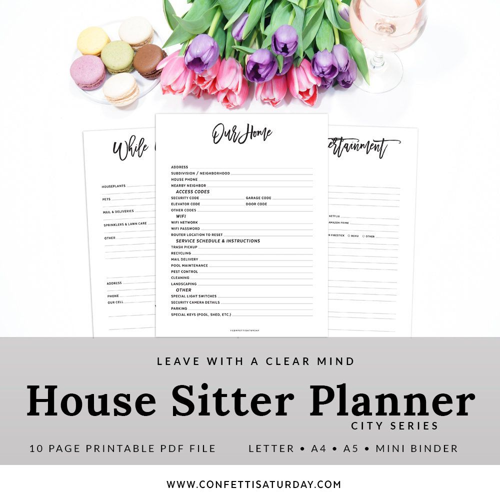 House Sitter Planner Printable Home Binder House Guest