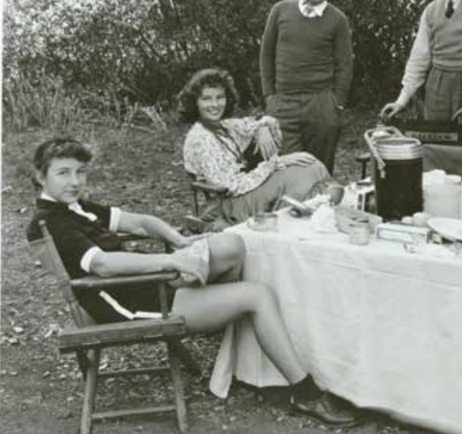 Laura Harding (Katherine Hepburn is sitting behind her) Katherine Hepburn  told a friend that Laura Harding saved her life — they were friends for  over 60 ...