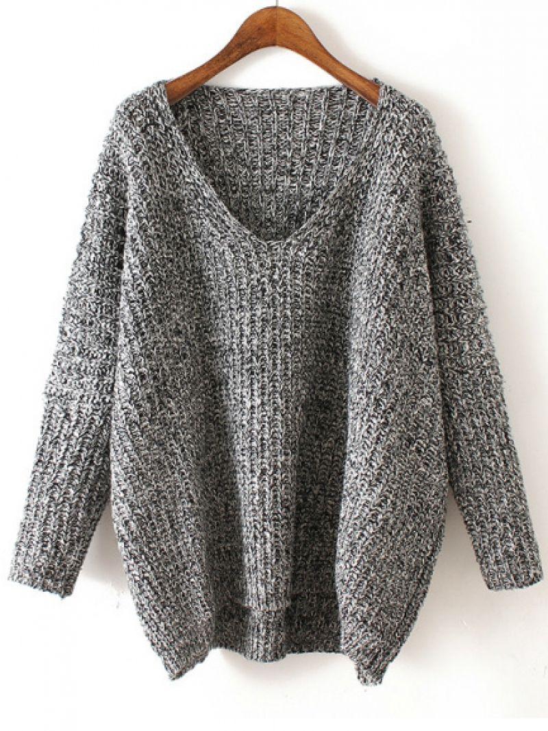 5312f5d5a5069b V Neck Chunky Knit Grey Dolman Sweater