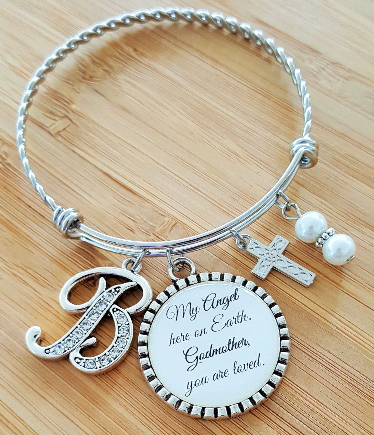 Choice of Colour Christening Gift Godmother Charm Adjustable Bangle Bracelet