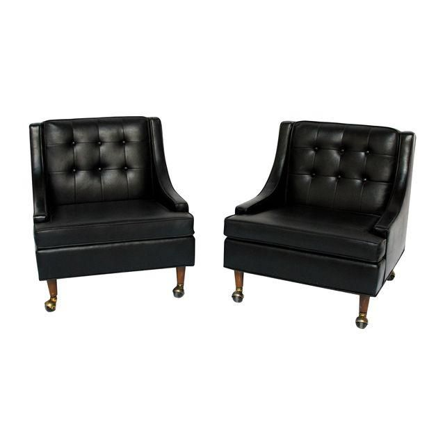 Image of MCM Tufted Black Lounge Chairs - A Pair28.0ʺW × 30.0ʺD × 28.0ʺH
