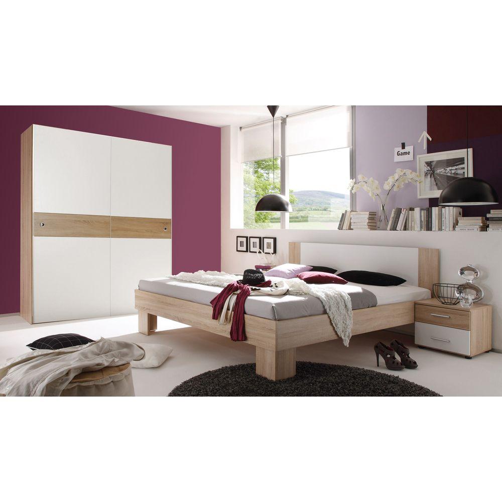 Schlafzimmer Set Game Bett 180 mit Schrank Eiche Sonoma Weiß Jetzt ...
