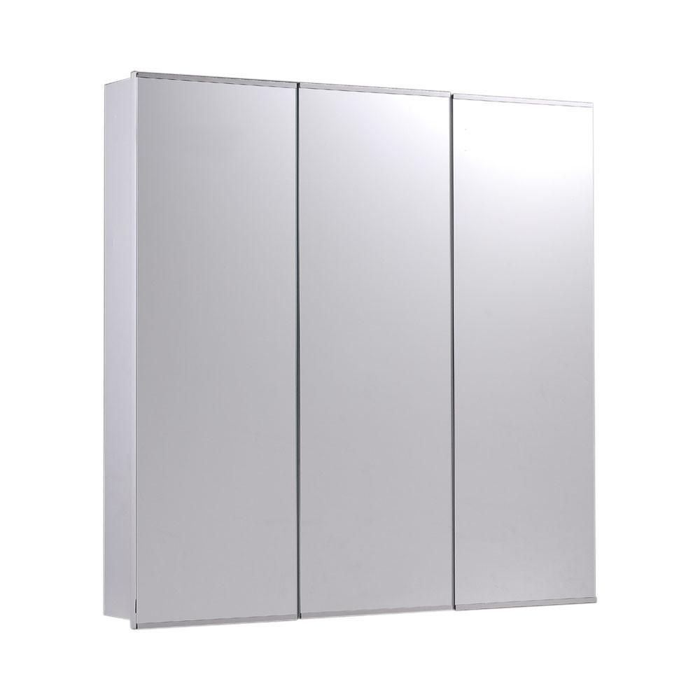 Tri View Series Surface Mounted Three Door Medicine Cabinet Polished Edge Mirror 48x36