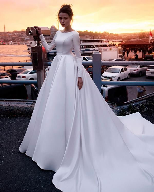 2019 Ball Gown Wedding Dresses: Long Sleeve Satin Wedding Dresses Backless 2019 Ball Gown