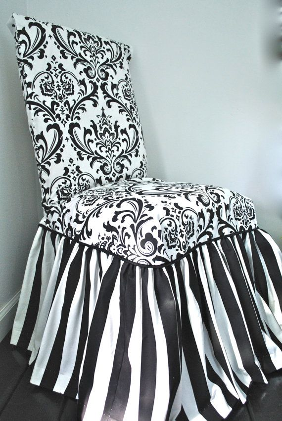 I Had This Cover Made For My Kitchen Chairs. Damask And Stripe Chair  Slipcover By