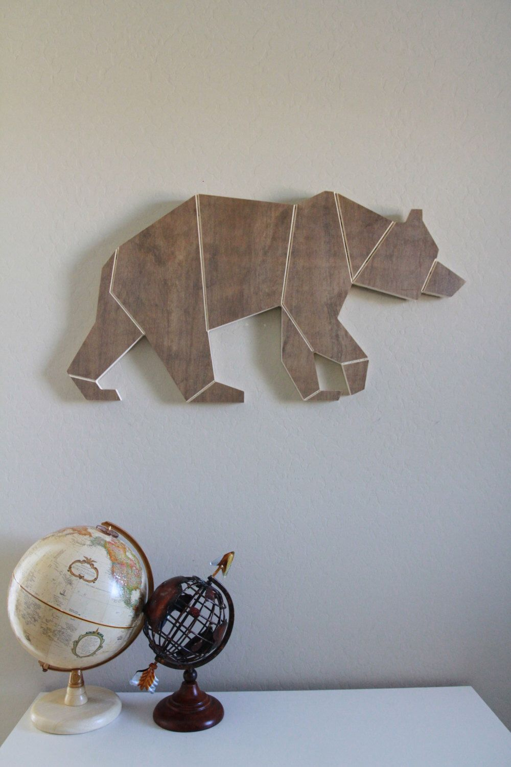 Wood Engraved Geometric Bear Home Wall Nursery Decor by ShopMulberryHouse on Etsy https://www.etsy.com/listing/456395508/wood-engraved-geometric-bear-home-wall