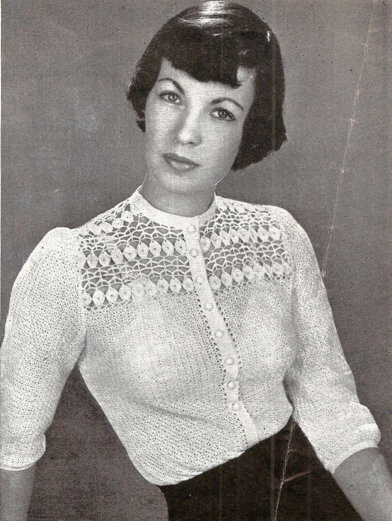 33d2564a5aec27 Paris Blouse Vintage Crochet Pattern 263 by knittedcouture on Etsy