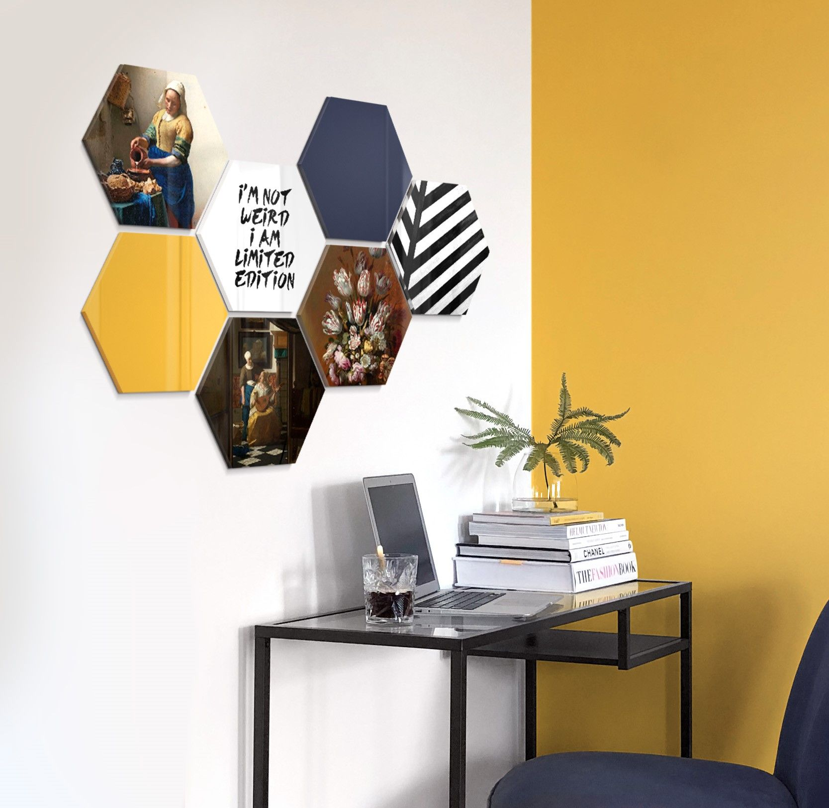 Blue Yellow Prachtige Wanddecoratie Afgestemd Op Jouw Interieur Combineer Beelden Van Kunstwerken Van Oude S Interieur Interieur Woonkamer Thuisdecoratie