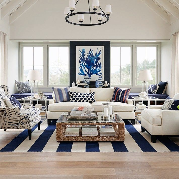 Hamptons Elegance in Navy (Coastal Style) | Navy, Living rooms and