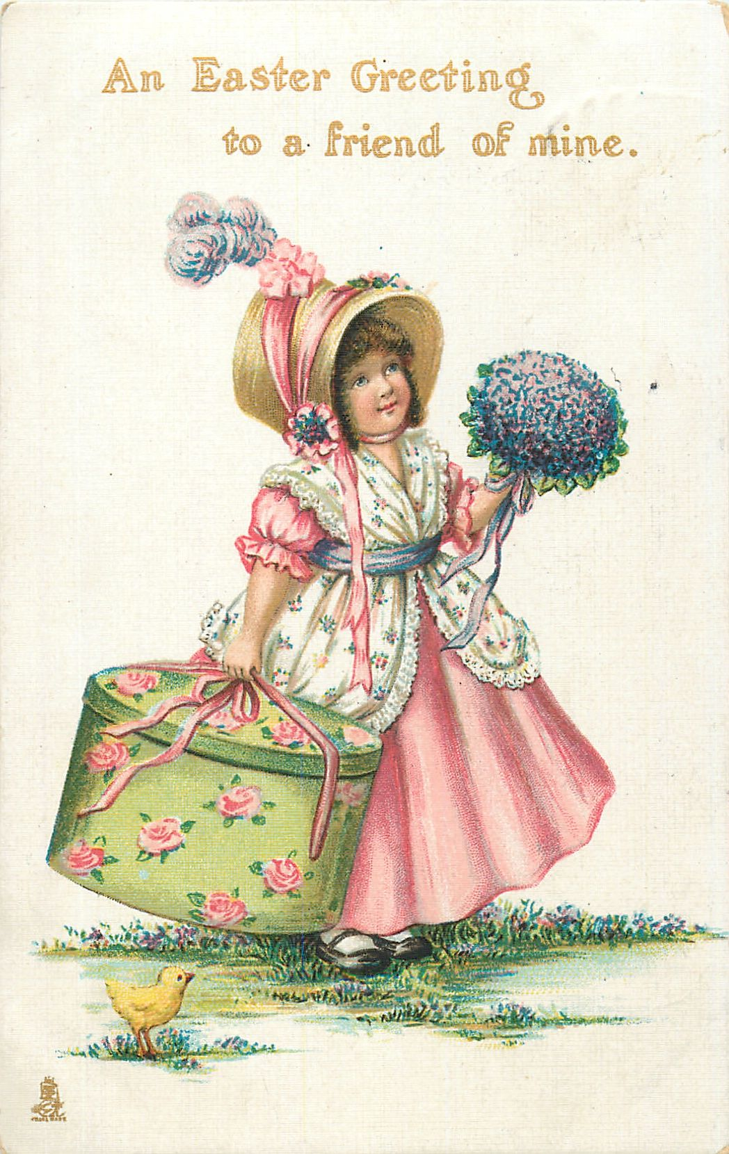An Easter Greeting To A Friend Of Mine Girl With Large Hat Box