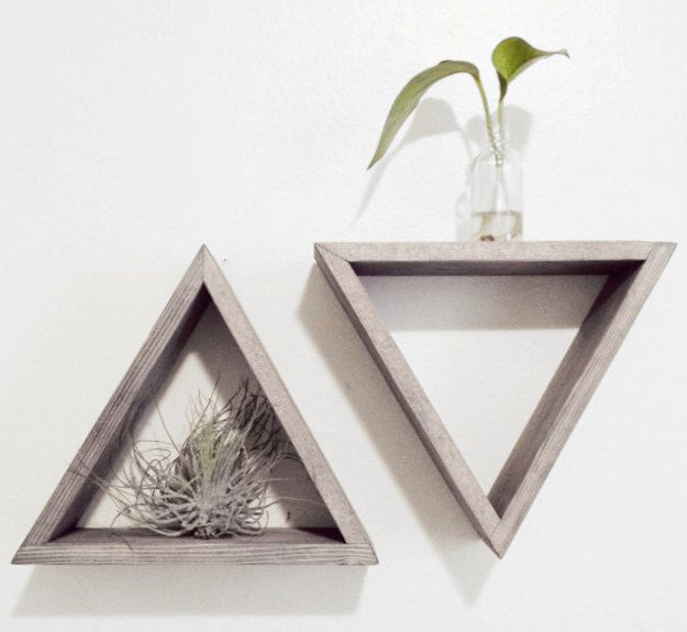Set of 2 Triangle shelves - Barnwood grey - Floating shelf set. $44.00, via Etsy.