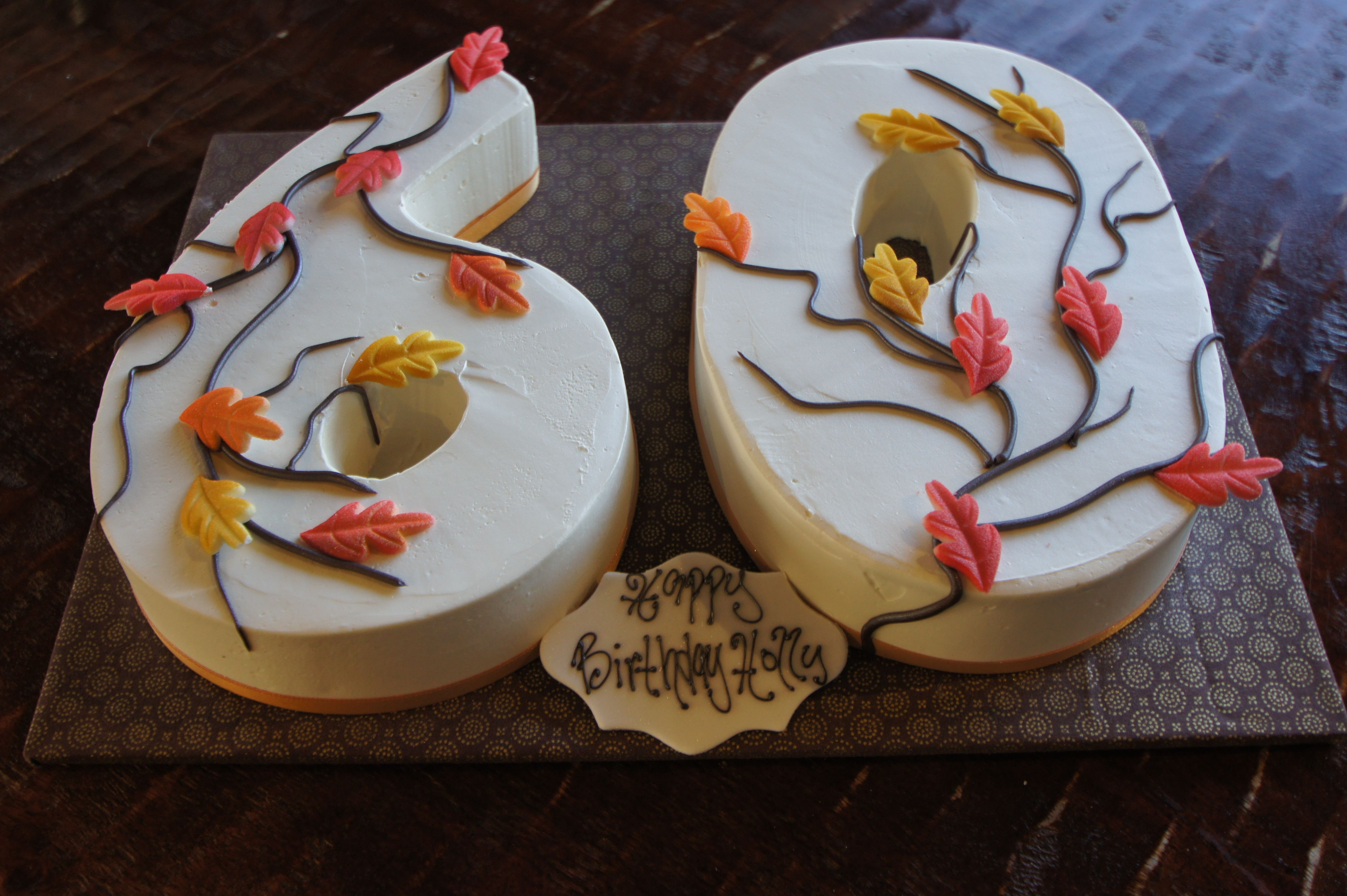 Number 60 Shaped Birthday Cakes With Fall Leaves Design
