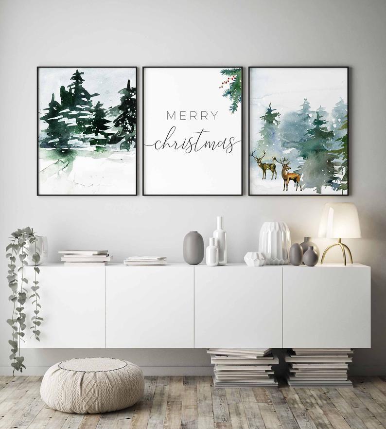Christmas Wall Art Christmas Printable Set Christmas Gift Christmas Tree Print Christmas Prints Merry Christmas Winter Decor Holiday Decor In 2020 Christmas Wall Art Decor Christmas Prints