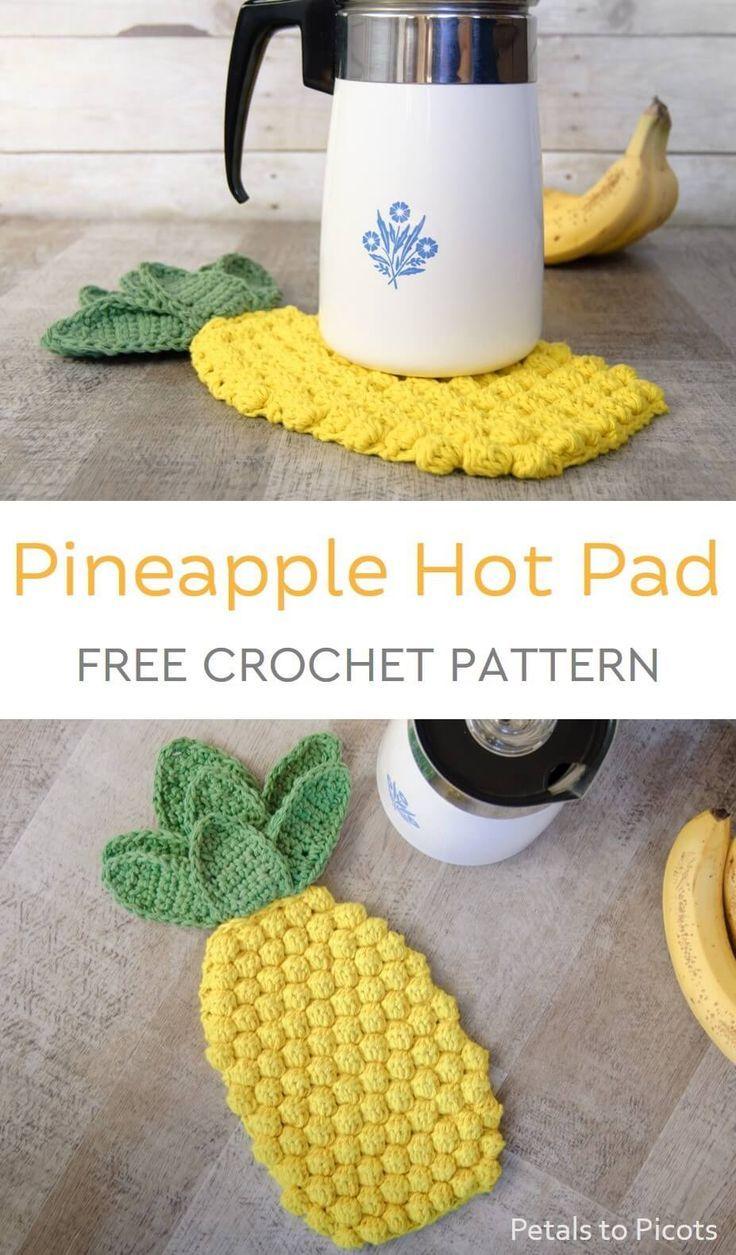 Pineapple Crochet Hot Pad Pattern #crochetpatterns