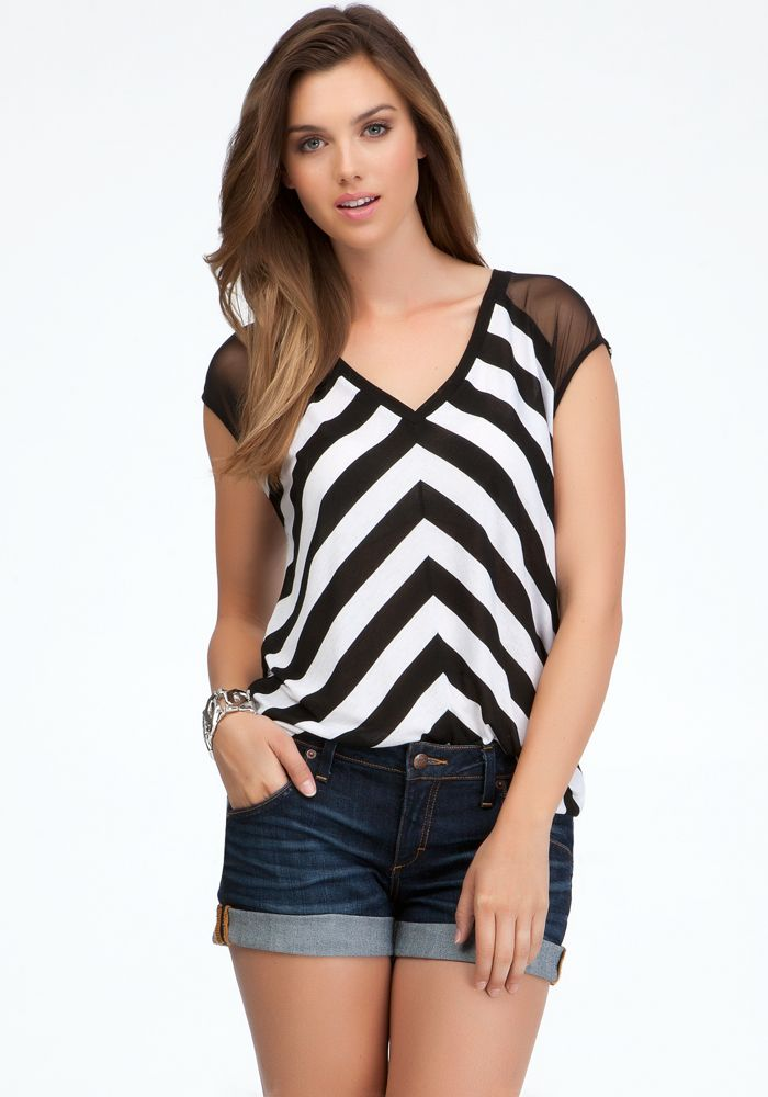 Twisted Back Cutout Stripe  Mesh Top