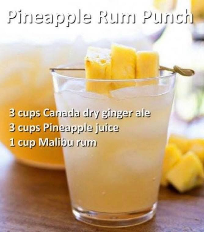 Pineapple Rum Punch Alcohol Drink Recipes Drinks Alcohol Recipes Cocktail Drinks Recipes