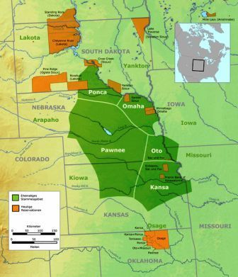 map showing great plains native american indian tribes