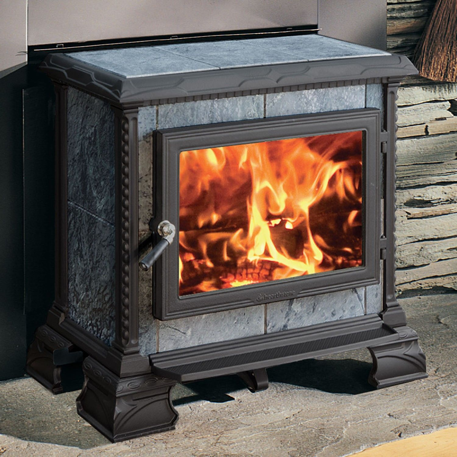 tula 8190 wood stove in charcoal by hearthstone heats up to 1200