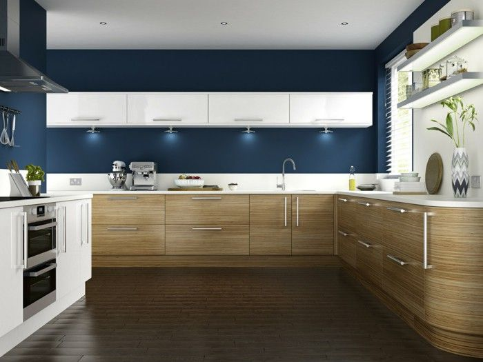 Walls Painting Ideas Kitchen Blue Wall Paint Kitchen Cabinets Wood Texture