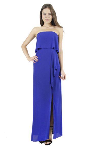 64f74f88a BCBG MaxAzria Vestido strapless azul rey