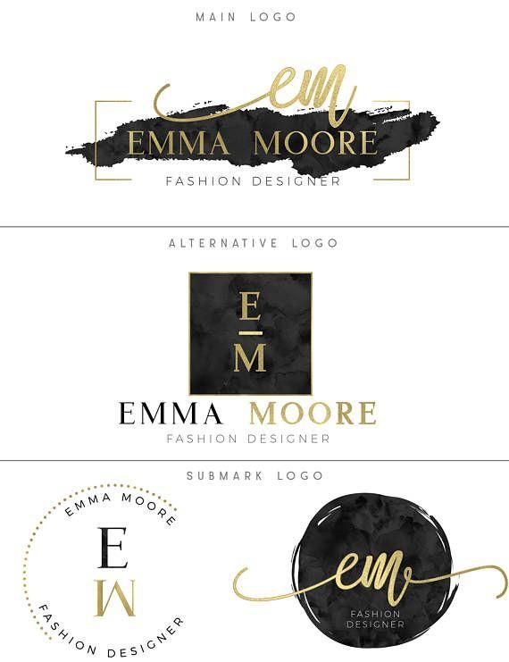 Black Gold Logo Package Premade Logo Design Black Branding Set