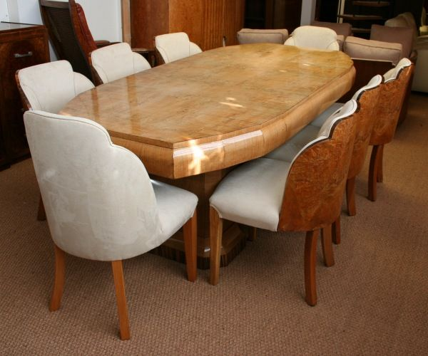 Original Art Deco Dining Table And Chairs By Epstein 6 Walnut Backed Two Upholstered Later In Solid With Veneer