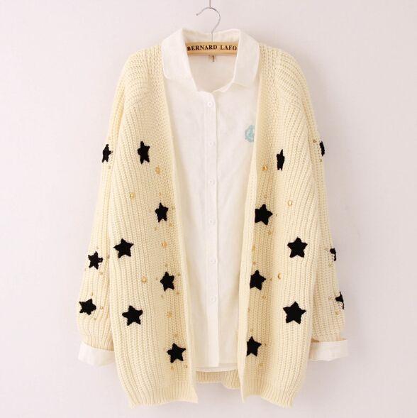 Sweet cute star knit sweater coat from Women Fashion {Europe ...