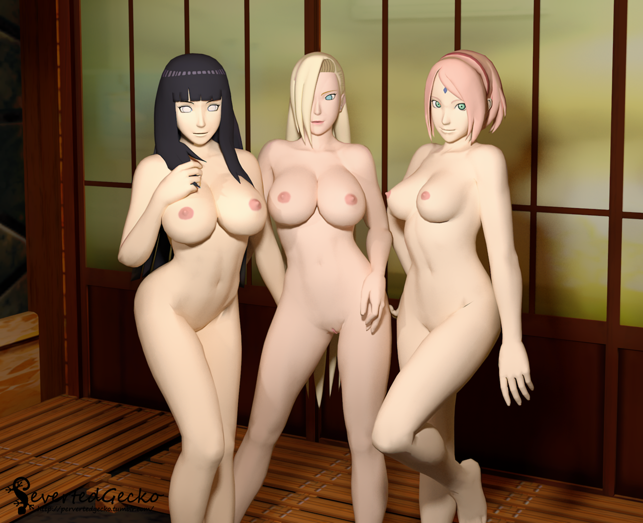 Sakura and hinata 3d dancing naruto bouncing boobs 8