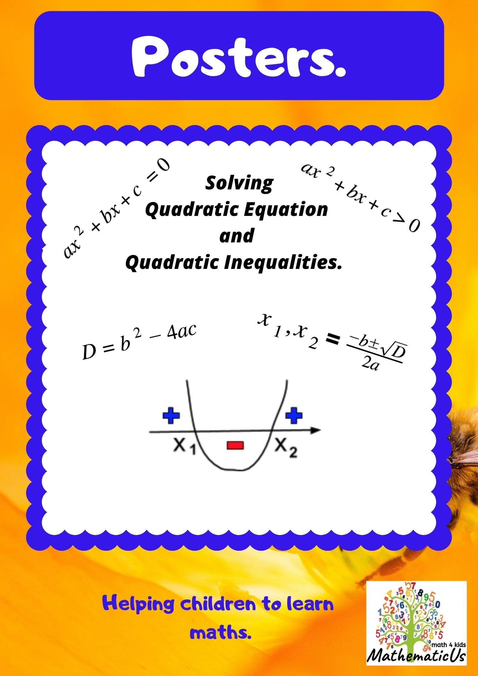 Quadratic Equations And Inequalities Solution Posters And Support Quadratics Math Word Walls Math Workshop Stations