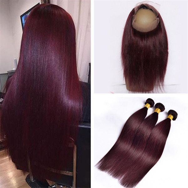 2017 Burgundy 360 Lace Frontal Closure With Bundles  99j Wine Red Straight  Brazilian Virgin Human Hair Weaves With 360 Full Lace Band Frontals From ... 3194f5616e