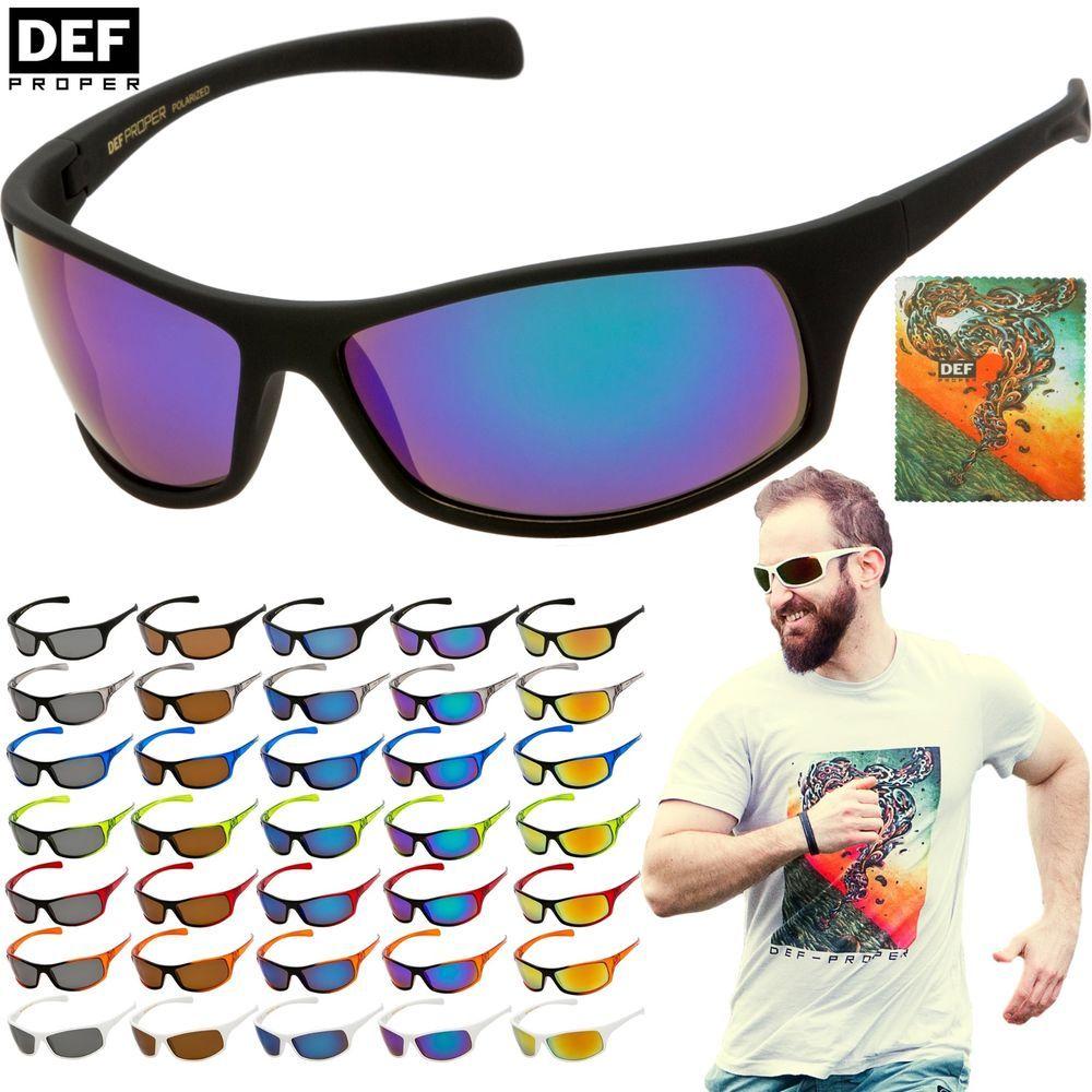 DEF Proper POLARIZED Sunglasses Mens Sports Wrap Fishing
