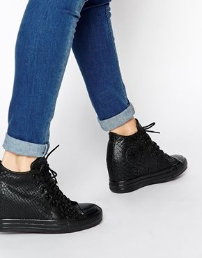 all black converse wedges