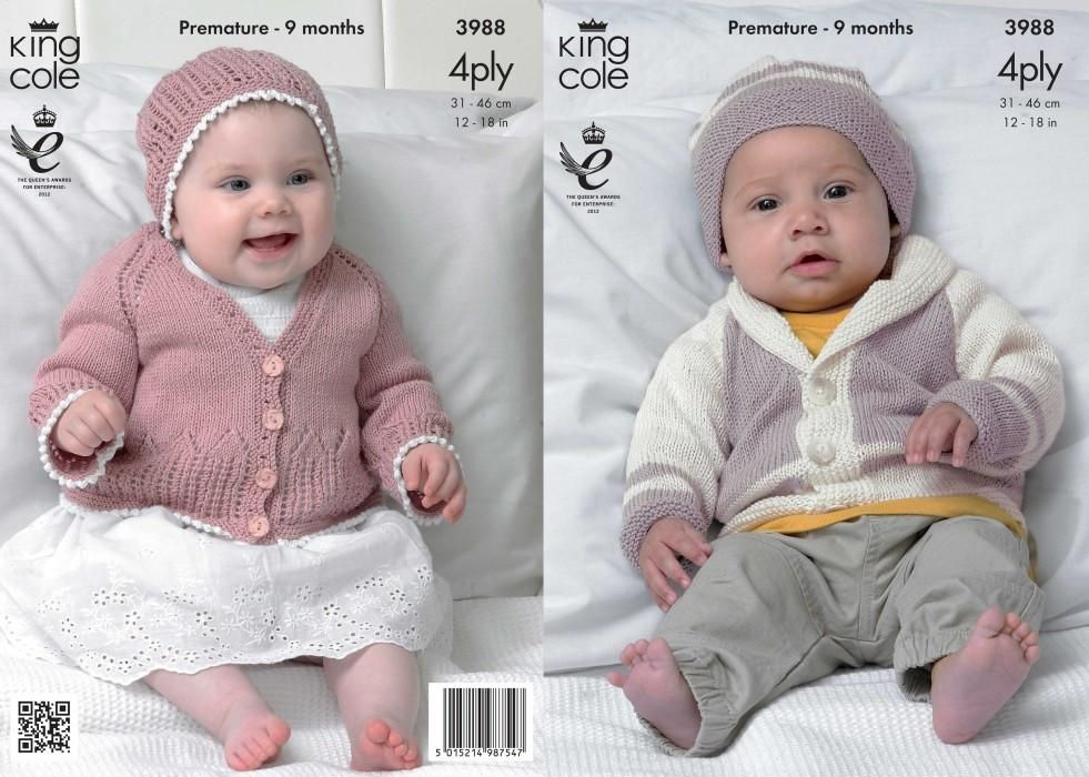 King Cole Baby Matinee Coat, Cardigan & Hats Bamboo Cotton 4 Ply ...