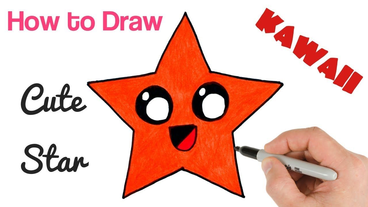 How To Draw A Star Cute And Cartoon Super Easy Art Tutorial For Kids Simple Art Art Tutorials Drawings