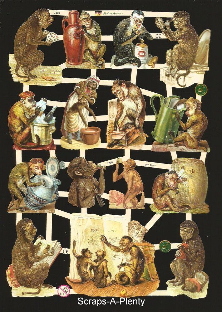 German Victorian Style Embossed Scrap Die Cut - Monkeys Playing / Animals EF7380