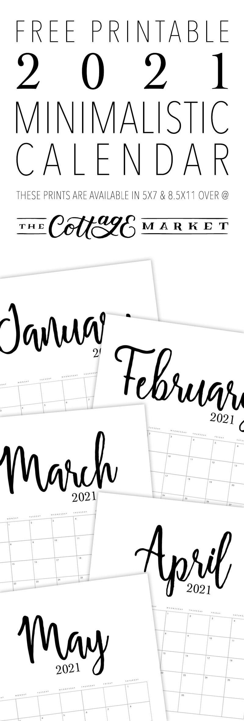 Free Printable 2021 Minimalist Calendar The Cottage