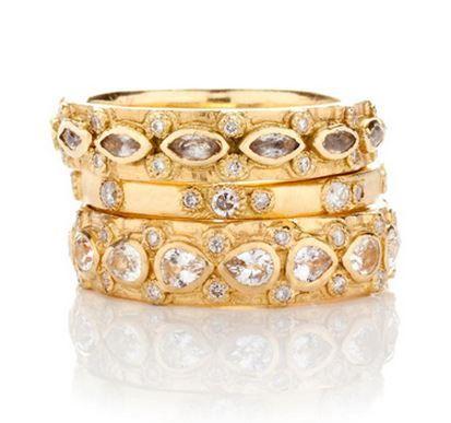 Armenta Yellow Gold Diamond & Marquise Sapphire Stack Ring 5aeXQWxaJ