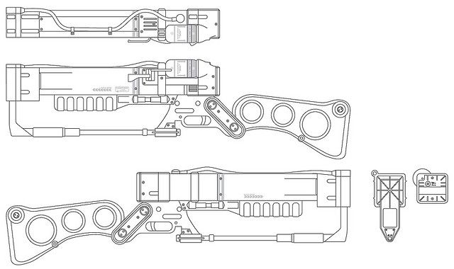 Fallout 3 Laser Rifle blueprints by Volpin, via Flickr